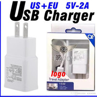 Wholesale Apple Plug Original Eu - Original 2 in 1 Fast Charger Set 2.1A Wall EU US Adapter USB Charger Plug For Samsung S6 S7 Note5 With LOGO With Retail Package