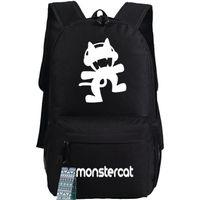 Wholesale music bowl - Monstercat backpack Electronic music school bag Monster cat daypack Pop schoolbag Outdoor rucksack Sport day pack