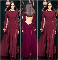 Wholesale Cheap Elegant Elie Saab Dress - Elie Saab 2017 New Pageant Runway Dresses Backless Long Sleeve Elegant Prom Dress Sexy Party Gowns Open Back Vestidos Evening Gowns Cheap