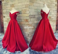 Wholesale sexy corset models online - 2017 Simple Dark Red Prom Dresses V Neck Off The Shoulder Ruched Satin Custom Made Backless Corset Evening Gowns Formal Dresses Real Image