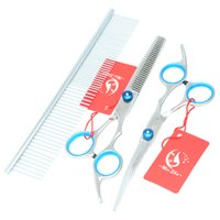 7.0Inch Meisha Hot Cutting Slin Curved Shears Shees JP440C Professional Pet Grooming Scissors Set Puppy Trimmer Tool, HB0033