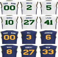Wholesale Mans Hoods - 2017 New Screen Printed Utah #9 Ricky Rubio Jersey 3 George Hill 5 Rodney Hood 6 Joe Johnson 27 Rudy Gobert Basketball Jerseys