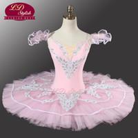 Wholesale Women Flower Tutu - Adult Pink Classical ballet Tutu YAGP Professional Pancake Ballet With Flower Fairy Ballet Tutu Costume Dancewear LD0005