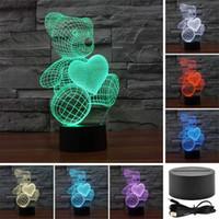 urso de toque da lâmpada venda por atacado-Urso Amor Amado 3D Acrílico Visual Touch Table Lamp Colorido Art Decor Criança USB Criativo LEVOU Luz Da Noite Da Mesa