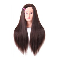 "Wholesale Training Hair Dummy - Female Training Mannequin Head Hair Yaki Dummy Head 24"" Hairdressing Doll Heads Women Educational Training Hairdresser With Clamp"
