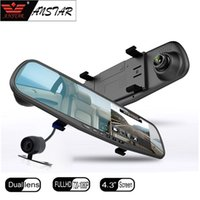 Wholesale Hd Double Car Camera - Car dvr double mirror car camera reversing image rearview mirror car dvrs video recorder video registered full HD 1080p camera