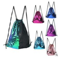 Sequins Sacs Sacs à dos de mode Mermaid Drawstring Bags Mermaid Sequins Unique Outdoors Voyage Sacs à bandoulière 100pcs Livraison gratuite
