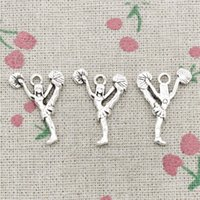 Wholesale Cheer Necklaces - 80pcs Charms cheerleaders cheering dance 26*17mm Antique Silver Pendant Zinc Alloy Jewelry DIY Hand Made Bracelet Necklace Fitting