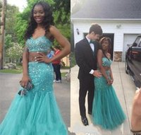Wholesale Turquoise Sweetheart Graduation Dress - 2017 New Beaded Two Pieces Prom Dresses Mermaid Turquoise Sweetheart Backless Ruffle Tulle Junior Holiday Celebrity Graduation Gowns