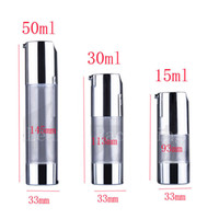Wholesale Wholesale Cosmetic Bottles For Creams - 15ml empty silver airless dispenser plastic pump travel bottles for cosmetics and skin care ,eye cream airless travel bottles