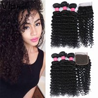 Wholesale 4inch Weaving Hair - Deep Wave With 4inch*4inch Lace Closure 100% Brazilian Hair Bundles Deep Wave Human Hair Weave Unprocessed Hair Indian Brazilian Extensions