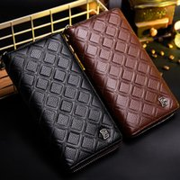 Wholesale Brown Purse Strap - Baborry Men's Long Wallets New Plaid Hand Strap Zipper Closure Black Coffee Quality Soft Large Capacity Credit Card Holder Purse