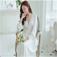 Wholesale Nightdresses Cotton - Wholesale- 2017 Sleep Lounge Women Sleepwear Cotton Nightgowns Sexy Lace Long Robe Home Dress White Nightdress Plus Size