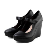 Wholesale Thick Soled Pointed Dress Shoes - Wedding Dress Wedge Womens Shoes Pointed Toe High Heels Platform Thick Soled Mary Jane Real Genuine Leather Creepers 2016 Pumps