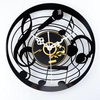 Wholesale Album Music - Music Microphone Tablets CD Album Vinyl Wall Clock Nostalgic Cartoon Mute Clock Creative Wall Clocks Fashion Cute Personality Home Decor