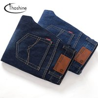 Wholesale wholesale man jeans - Wholesale- Thoshine 2017 Spring Summer Autumn 2 pcs per lot Men Jeans Male Casual Denim Pants Adult Full Length Straight Trousers Plus Size