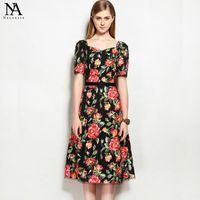 Wholesale Elegant Sweatheart - New Arrival 2017 Women's Sweatheart Neckline Short Sleeves Floral Printed Elegant Runway Dresses