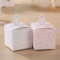 Wholesale Classic Wedding Favors - Free Shipping Classic Baby Bottle Favor Box Candy Gift Boxes For Baby Shower Party Favors 100pcs