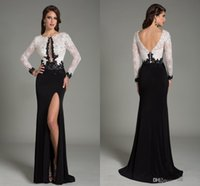 Wholesale Lining Shirt Prices - White And Black Prom Dresses Cheap Lace Wear Long SLeeve Evening Gown Backless Split Skirt High Quality 2017 Cheap Price Floor Length