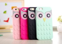 Wholesale Silicone Case Owl - 3D Cute Lovely Cartoon OWL Silicon Shell Cover Protector Mint Black for Iphone 4 4s 5s 6 6s plus 7 7 plus G530