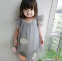Wholesale Mesh Bows Christmas - 3 color 2017 Korean style new arrivals Girls Lovely house cloud mushroom mesh girl dress casual fashion dress
