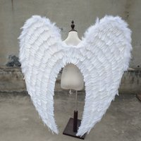 Wholesale large party props resale online - large size beautiful white angel wings Automobile Exhibition stage performance Displays Wedding shooting props pure handmade