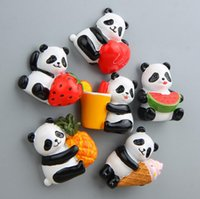 Wholesale Resin 3d Fridge Magnets - Hot Selling 6 Designs Cute Panda Fruit Cartoon Style 3D Fridge Magnet Kawaii 3D Resin Home Decoration Gifts For Holiday Free Shipping