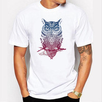 Wholesale Pink Orange Owl - Fashion short sleeve owl printed men tshirt cool funny men's tee shirts tops men T-shirt cotton casual mens t shirts T01