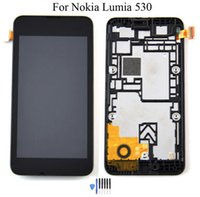 Wholesale Open Frame Lcd Touch Screen - Black For Nokia Lumia 530 N530 LCD Display + Touch screen digitizer full Assembly + Bezel Frame + Open Tools , Free shipping!!!