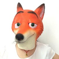 Wholesale Cosplay Silicone Mask - Zootopia Fox Latex Mask Animal Face Full Head Halloween Mask Halloween Party Costume Cartoon Masks movie cosplay Costume Prop Accessories