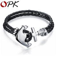 Wholesale Gothic Handmade Leather Bracelets - Wholesale-OPK Fashion Double Leather Anchor Bracelets Handmade Leather Braided Vintage Gothic Skull Design Bracelet For Men Jewelry PH980