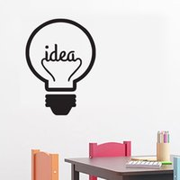 Wholesale Room Wall Decor Ideas - Idea Symbol Motivation Quote Wall Stickers Home Decor Living Room Creative Light Bulb Wall Decals Vinyl Sticker