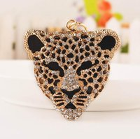 Wholesale Animal Panther Leopard Crystal Rhinestone Keychains Keyring Charm Pendant Purse Bag Key Ring Chain birthday Gift free ship