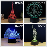 Wholesale Optical Light Glow Party - 3D Glow LED Night Light Mix Order Multi Colors Optical Illusion Lamp USB Charging Touch Sensor for Home Party Decoration Christmas Gift