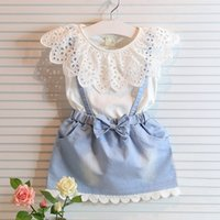 Wholesale denim dress bowknot resale online - 2017Fashion Princess Skirt Ins Baby Girl Dress Cute Kid Sleeveless Denim Lace Shirt Tulle Bowknot Layered Dress Formal Wedding Party Clothes