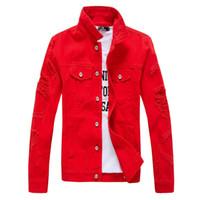 Wholesale Yellow Denim Jacket Men - Wholesale- 2017 Hip Hop Mens Denim Jacket Broken Ripped Jean Jacket Men Urban Clothes Y2019