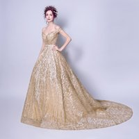 Wholesale Evening Gowns Tail - Fashion New Luxury Gold Evening Dress The Bride Banquet Elegant Long Tailed Sweetheart Prom Party Formal Gown Robe De Soiree