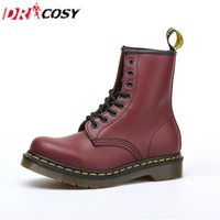 Wholesale female leather boots - Wholesale-Vintage Genuine Leather Couple Martin Boots Fur Warm Female Ankle Botas Women'S Boots Dr Brand Motorcycle Boots Plus Size 35-47