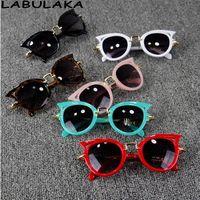 Wholesale Glasses Ear - Baby Kids Sunglasses Girls Brand Cat ear Children Glasses Boys UV400 Lens Cute Eyewear Infant Shades Goggles kids beach protection T4781