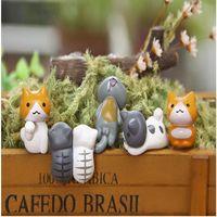 mini-fee garten tiere großhandel-Künstliche Katze Niedlichen Tiere Fairy Garden Miniatur Gnome Moos Terrarium Decor Harz Handwerk Bonsai Wohnkultur für DIY Zakka