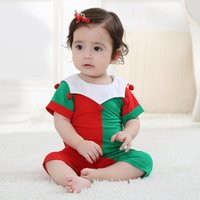 Wholesale baby clothing free shipping dhl for sale - Group buy DHL Pieces baby rompers cotton cherry rompers Cute red green overalls kids jumpsuit baby crawling clothes