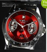 Wholesale Winner Watches Automatic Calibre - Winner Calibre 17RS Red Leather Bands Stainless Steel Automatic Mens Watch Men's Watches