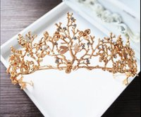 Wholesale Crowns Tiara S - DG 2017 New Baroque crown wholesale high-end sub branch hair headdress golden Dragonfly diamond large crown wedding dress accessories free s