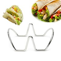 Wholesale Stainless Steel Food Stand - 2 Waves Shaped Stainless Steel Mexican Taco Holder Display Stand Up Shell Food Rack Pie Pancake Rack Baking Pastry Tools