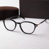 klare linsengläser für frauen großhandel-Neue Retro Klare Linse Optische Rahmen Gläser Markendesigner Männer Frauen Runde Brillen Tom 5397 Vintage Plank Spektakel Myopie Brillengestell