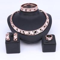 armbänder katzenaugen großhandel-Rose Gold Edlen Schmuck Sets Katzenauge Stein Halskette Armband Ohrringe Ring Sets Frauen Vintage Luxus Schmuck Set