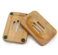 jabón de plato libre al por mayor-Jabonera de madera de bambú natural Jabonera de madera Soporte de almacenamiento de la bandeja de estante de jabón Contenedor para baño Ducha Baño 50pcs DHL / Fedex gratis