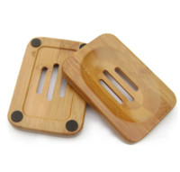Wholesale tray container - Natural Bamboo Wooden Soap Dish Wooden Soap Tray Holder Storage Soap Rack Plate Box Container for Bath Shower Bathroom 50pcs Free DHL Fedex