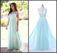 Wholesale Cheap Juniors Dresses Formal - 2017 Cheap Coral Mint Green Long Junior Bridesmaid Dress Lace Chiffon Country Style Beach Bridesmaid Dresses Formal Gowns The real picture 6