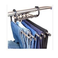 Wholesale Magic Hanger Stainless - 5 in 1 Magic Trousers Hanger Stainless Steel Metal Clothes Pants Slacks Trousers Jeans Organizer Hanger Rack
